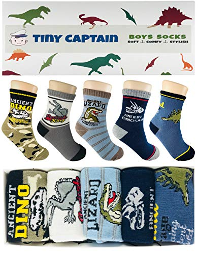 Tiny Captain Boy Dinosaur Socks 4-7 Year Old Boys Crew...