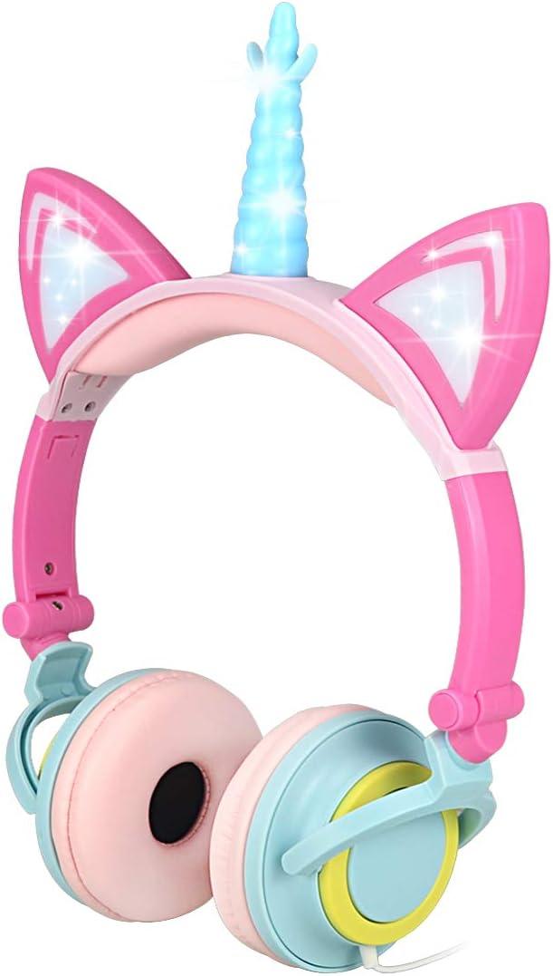 Nice2Mitu Cat Ear Kids Headphones for Boys Girls Tablet School Supplies, Led Glowing Headphones for Kids, Foldable Over On Ear Girl Headphones Toddlers Travel Birthday Gifts (Pink)