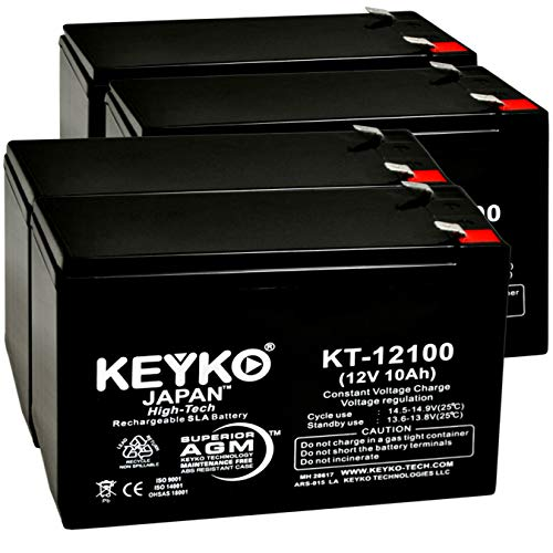 GS Portalac PE12V10B1 12V 10Ah / Real 10.0 Amp SLA Sealed Lead Acid AMG Rechargeable Replacement Battery Genuine KEYKO - F2 Terminal - 4 Pack