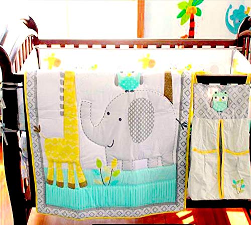 Adorable Elephant, Giraffe, Owl, Yellow and Gray, 10 Piece Bedding Set, Including Crib Bumper, Diaper Stacker, and Bonus Baby Monthly Milestone Blanket for Newborn Baby Boy/Girl. ()