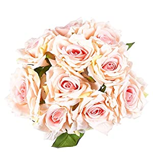 Juvale Pink Roses Artificial Flowers 10 Count - Silk Artificial Flower Bouquet, Fake Roses Wedding Parties, Valentine's Day, Table Home Decorations 4