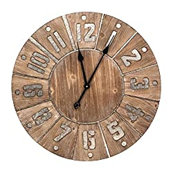 CC Home Furnishings Brown and Gray Decorative Wood Block Analog Wall Clock 23.5 x 23.5 x 2