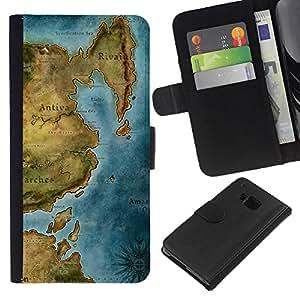 """Be-Star la tarjeta de CršŠdito Slots PU Funda de cuero Monedero caso cubierta de piel Para HTC One M7 ( Mapa antiguo Continente Mar OcšŠano Grš¢fico"""" )"""