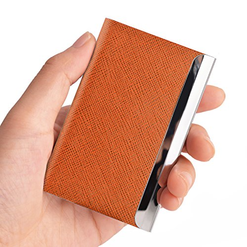Maxgear Professional Business Card Holder for Women, Stainless Steel Business Card Case Holder Metal Name Card Organizer PU Leather Card Holder Twill Orange