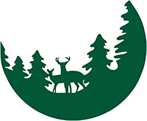 NBFU DECALS Deer Forest Pine Tree Landscape (Green) (Set of 2) Premium Waterproof Vinyl Decal Stickers for Laptop Phone Accessory Helmet Car Window Bumper Mug Tuber Cup Door Wall Decoration