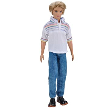 def764bf4cf Amazon.com   E-TING 1 Set   2 PCS Casual Wear T-shirt Jeans Daily Pants  Trousers Doll Clothes for Boy Doll (004 WB)   Baby