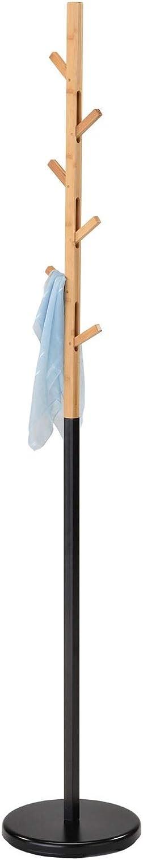 IDIMEX Porte-Manteaux Avignon Portant à vêtements sur Pied en Forme d'arbre avec 6 Crochets rétractables sur différentes hauteurs, Bicolore en métal laqué Noir et Bambou