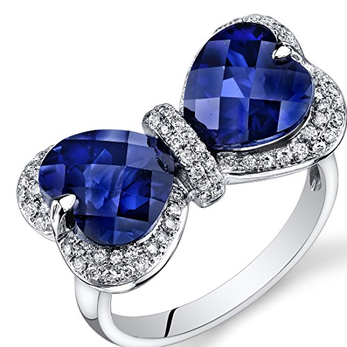 Peora 14K White Gold Heart Created Blue Sapphire Diamond Ring (7.55 cttw) (Platinum Blue Sapphire Ring compare prices)