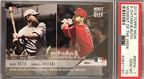 (2018 Topps Now Shohei Otani (Ohtani) - Ohtani Displays Pitching and Batting Prowess not seen Since Babe Ruth - Los Angeles Angels Baseball Rookie Card - Graded PSA 10 GEM MINT - RC Card #MOW-1)