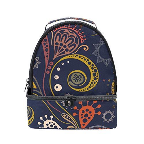 con la de almuerzo pincnic para el escuela aislante floral Bolsa estampado hombro correa ajustable FOLPPLY con de para qwEC6tna