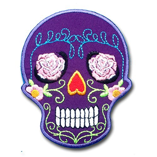 Purple Sunny Buick Rose Sugar Skull For Harley Lady Rider Biker Punk Heavy Metal Hard Rock Tatto Embroidered Iron on Badge Emblem Letter Morale Patch