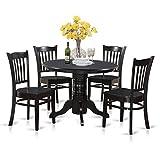 Black Kitchen Table Set East West Furniture SHGR5-BLK-W 5-Piece Kitchen Table Set, Black Finish