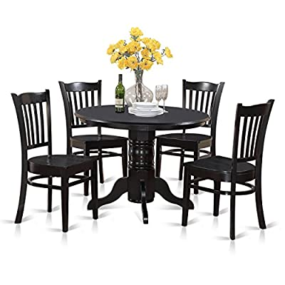 East West Furniture SHGR5-BLK-W 5-Piece Kitchen Table Set, Black Finish - 5 piece Shelton round kitchen table 42in Diameter with 4 Groton Dining Chair With Wood Seat in a Black Finish. Outstanding Dining set that made from 100% Asian Hardwood. Absolutely not MDF, veneer, laminate moved to our goods. Straightforward lines round the kitchen table's stand retain the appearance of this particular dinette set smooth and attractive. - kitchen-dining-room-furniture, kitchen-dining-room, dining-sets - 51ewTgOlxpL. SS400  -