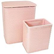 Redmon 7212TR Chelsea Pattern Wicker Nursery Hamper And Matching Wastebasket Set, Tea Rose