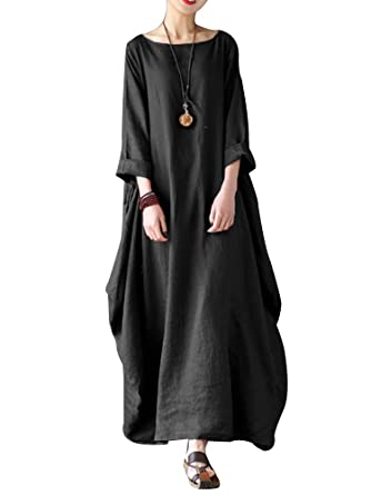 9be8bdb6b5a7 Celmia Women's 3/4 Sleeve Round Neck Solid Loose Long Maxi Dress Cotton Gown  with