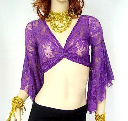 Topro Ventre Pizzo Danza Dancewear Del Reggiseno Camicetta Purple rRP6ra
