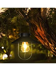 Solar Lantern Outdoor Hanging Warm White Solar Lights with Hanger Hook, Greenke Waterproof Retro Metal Tungsten Pendant Bulb lamp for Pathway Garden Patio Yard Tree Decoration Outside (Large/Black)