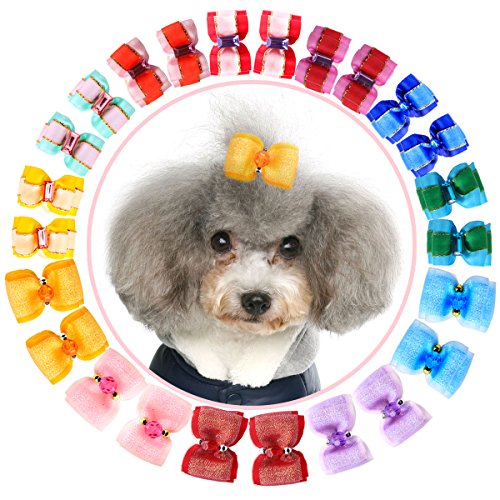 YOY 24 pcs/12 Pairs Adorable Grosgrain Ribbon Pet Dog Hair Bows with Elastic Rubber Bands - Doggy Kitty Topknot Grooming Accessories Set for Long Hair Puppy Cat