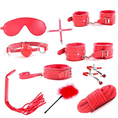 YUJOY 10 Pcs Hands and Ankles Cuffs Premium PU Leather Adjustable Bed Collections Kits for Party Cosplay Sets with(Red) by YUJOY