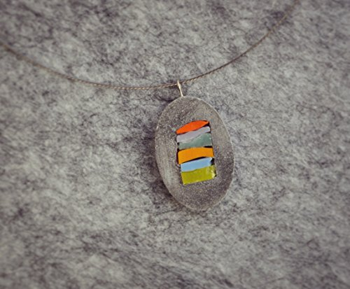 Woman necklace, oval pendant mosaic and cement, colored stripes, MO.MENT collection.