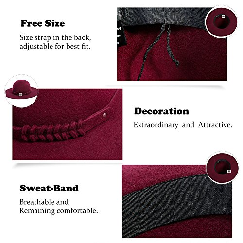Siggi Woman 100% Wool Felt Top Hat Big Brim Winter Fedora Hats for Women Burgundy by SIGGI (Image #5)