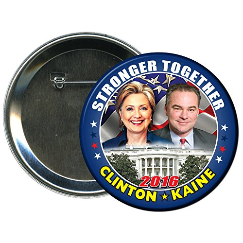Hillary Clinton and Tim Kaine Round 2016 Campaign Button 3