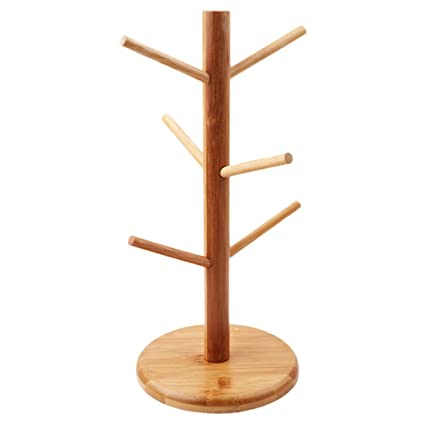 Yinew Wood mug Tree 6/ Cup Holder mug Tree stand Kitchen Towel roll Holder stand rack