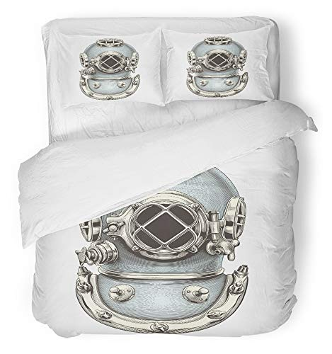 - Emvency 3 Piece Duvet Cover Set Breathable Brushed Microfiber Fabric Dive Vintage Diving Helmet Engraving Diver Scuba History Deep Underwater Sea Bedding Set with 2 Pillow Covers Full/Queen Size