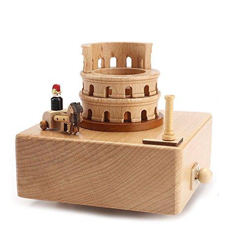 Christmas Present Music Box - cheerfullus Wooden Music Box Desk Toy Decoration Birthday Present Christmas Gift for Kids (Colosseum)