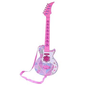 MRKE Ukelele Guitarra Electrica Niños 4 Cuerdas Ajustable Guitarra Juguete con LED y 8 Música: Amazon.es: Juguetes y juegos