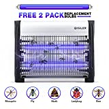 ISILER Electric Bug Zapper, Indoor Insect Killer, 2800V Grid 20W Bulbs Mosquito Killer with UV Light Trap 6000sq.ft Coverage for Home Commercial Industrial Use, Free 2-Pack Replacement Bulbs Included