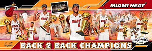 Basketball Miami Heat 2013 NBA Finals - 12x36 Panoramic Photo. Frame Dimensions 15.5 x41 Deluxe Double Matt & Brown