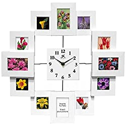 15.75 inch Modern Wall Clock with Picture Frames Time Capsule by Infinity Instruments