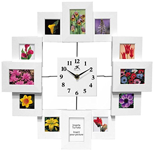15.75 inch Modern Wall Clock with Picture Frames Time Capsule by Infinity Instruments (With Photo Clocks Wall Frames)