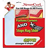 "Grips the Rug with NeverCurl Includes 4""V"" Shape Corners - Patent Pending. Instantly Flattens Rug Corners AND Stops Rug Slipping. Gripper uses Renewable Sticky Gel. By NeverCurl (4 Corners)"
