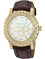 Sean John Mens Quartz Metal and Polyurethane Casual Watch, Color:Brown (Model: 10031242)