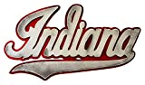 Gear New Indiana University Script 3D Vintage Metal College Man Cave Art, Large, Red/White