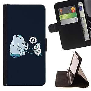 - Funny Elephant & Horse Friends - - Monedero PU titular de la tarjeta de cr????dito de cuero cubierta de la caja de la bolsa FOR HTC Desire 820 RetroCandy