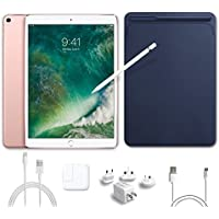 2017 New IPad Pro Bundle (5 Items): Apple 10.5 inch iPad Pro with Wi-Fi 64 GB Rose Gold, Leather Sleeve Midnight Blue, Apple Pencil, Mytrix USB Apple Lightning Cable and All-in-One Travel Charger