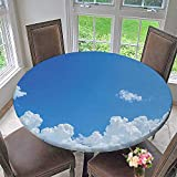 Mikihome Elasticized Table Cover Collection Cloud Frame Skylight to Clear Sky Sunny Day Decorative Nature Picture Scene Machine Washable 67''-71'' Round (Elastic Edge)