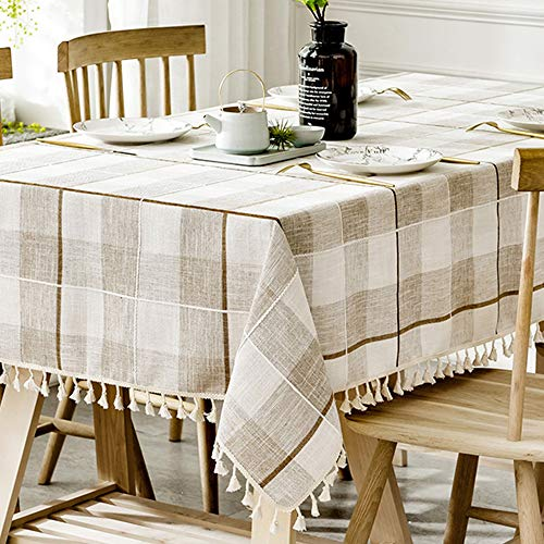 Tablecloth, TEWENE Rectangle Table Cloth Cotton Linen Wrinkle Free Anti-Fading Checkered Tablecloths Washable Dust-Proof for Dining Kitchen (Rectangle/Oblong, 55''x102'',8-10 seats, White&Light Brown)
