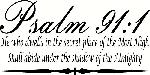 Psalm 91:1 He Who Dwells in the Secret Place of the Most HighShall abide under the shadow of the Almighty 11 x 22 Bible Verse Vinyl Wall Art De...