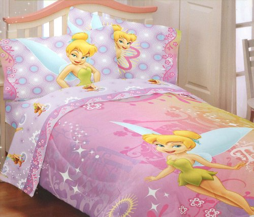 Disney Fairies TinkerBell Whimsy Tink Twin Sheet Set Tinker Bell (Tinkerbell Sheets)