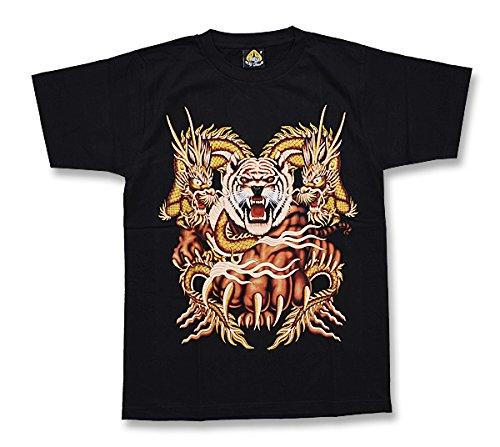 乏しいの量相関するタイガー & ドラゴン 黒 Tシャツ M/F/Lサイズ 虎 龍 ブラック ゴージャス タイランド