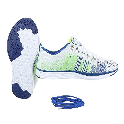 Ital-Design - Zapatillas de Material Sintético para mujer Weiß Multi BY15280