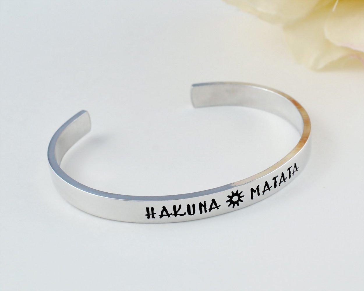 Amazon Hakuna Matata Hand Stamped Aluminum Cuff Bracelet