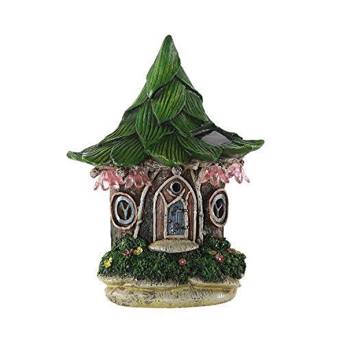 (Ivy Home Solar Powered Garden Fairy Statues Tree Hanging Resin Fairy House)