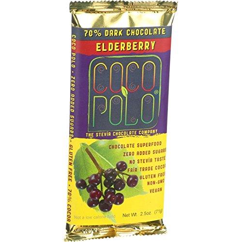 Coco Polo - Coco Polo Chocolate Bar - 70 Percent Dark Elderberry - Case of 12 - 2.5 oz Bars