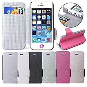 Silk Pattern PU Leather Full Body Case with Card Slot for Apple iPhone 5 / 5S , White