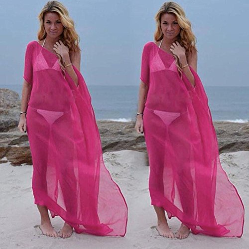 ZEZKT♪Tunika Bikini Sommer Elegant Strand Cover Up Schulterfrei Übergröße Einfarbig Maxikleid Durchsichtig Beach Strandkleider Strandtuch Towel Bikini Cover Up Rückenfrei Sommer Hot Pink